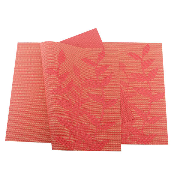 Red Placemats Rec Rectangle Washable Vinyl Place Mats for Kitchen Table Set of 6