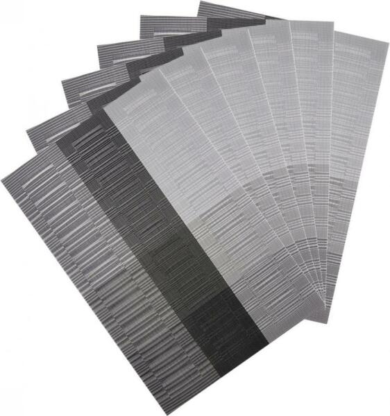 Silver PVC Placemats Washable Vinyl Placemats for Kitchen Table Mats Set of 6