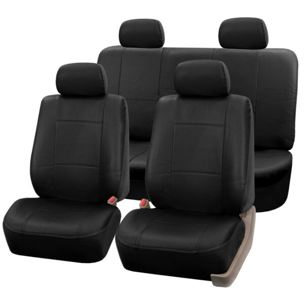 PU Leather Seat Covers for Car SUV Van Full Seat Covers Set Solid Black $43.99