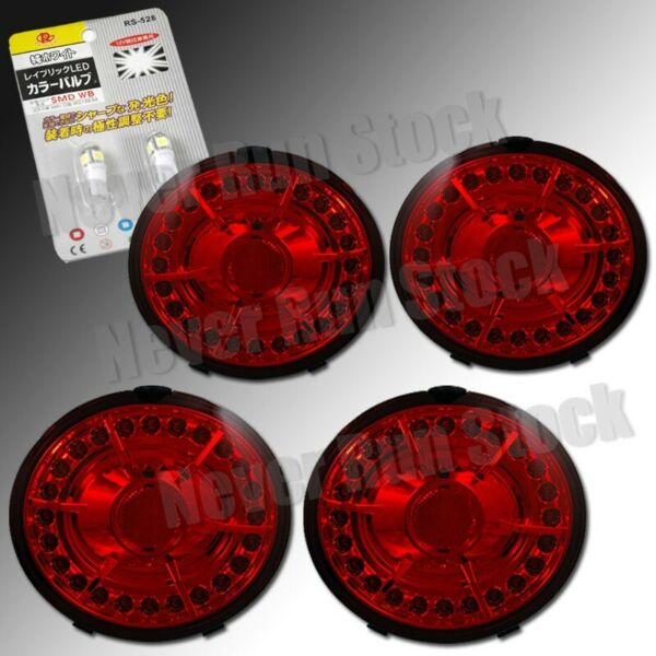 CHEVY CORVETTE C6 Z06 RED CLEAR LED TAIL LIGHTS + WHITE LED LICENSE PLATE BULBS