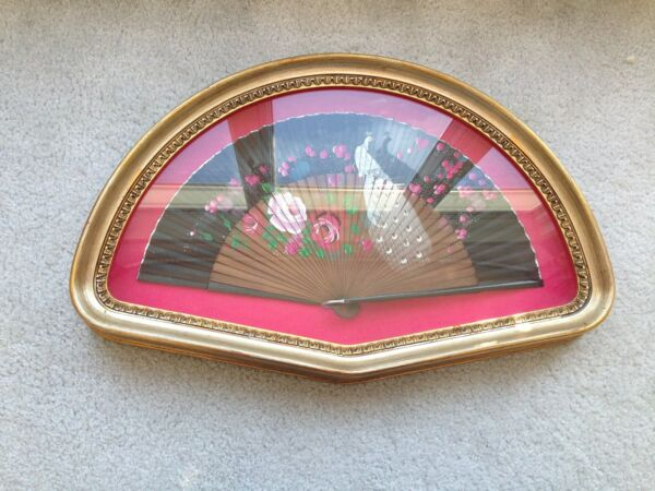Antique Ornate Hand Painted Fan Pink Framed in a Shadow Box from Spain