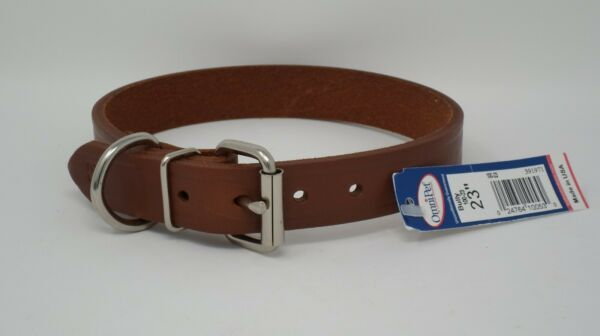 #100L 23quot; LEATHER DOG COLLAR FREE BRASS NAMEPLATE $9.50