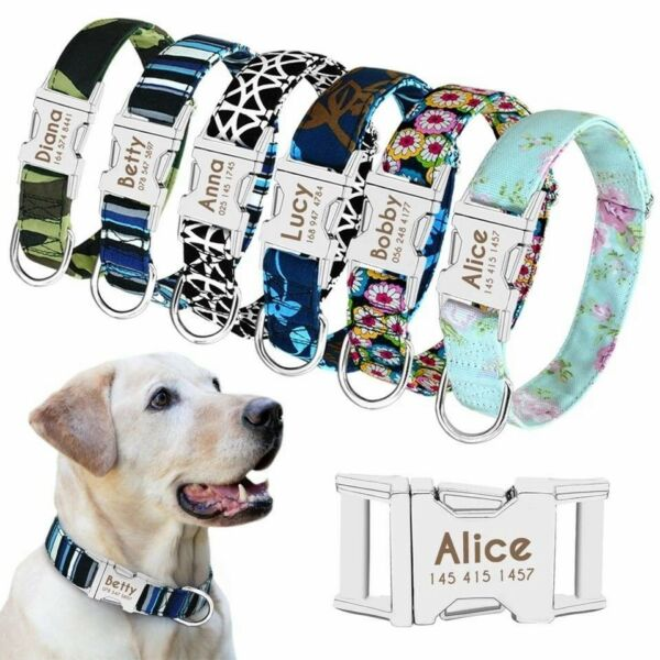 Nylon Personalized Dog Collar Pet ID Name Custom Engraved Buckle Collars S M L $9.99