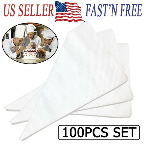 100pcs Large Disposable Pastry Bag Icing Piping Cake Cupcake Decorating Bags