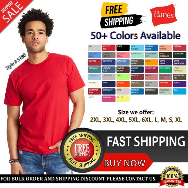 Hanes Men#x27;s Cotton Beefy T Cover Seamed Neck Lay Flat Collar T Shirt 5180 S 6XL