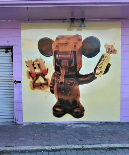 Rat with 2 much Power Wall Graphic 8x8 feet By infamous artist Michael Moffett