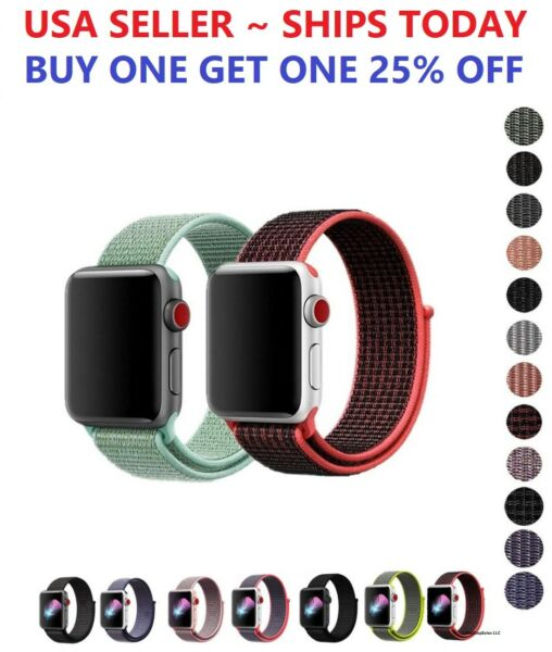 Woven Nylon Band for Apple Watch Sport Loop Series 6 5 4 3 2 1 SE 38 42 40 44mm $5.28