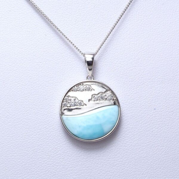 925 Sterling Silver Natural Dominican Larimar CZ Gemstones Pendant Necklace 18