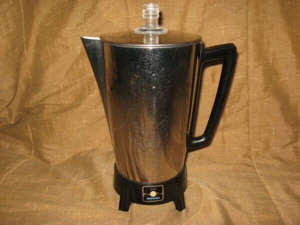 Vtg Sears Fully Immersible Large Big 12 Cup Electric Coffee Maker Pot Percolator