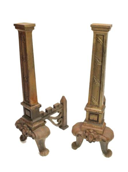 Antique Cast Iron Pillar Column Andiron Fireplace Dogs Tools Holder Log Grate