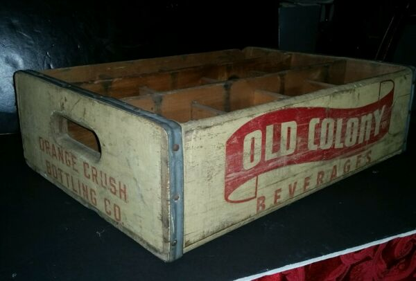 VINTAGE OLD COLONY ORANGE CRUSH BOTTLE WOODEN CRATE RARE