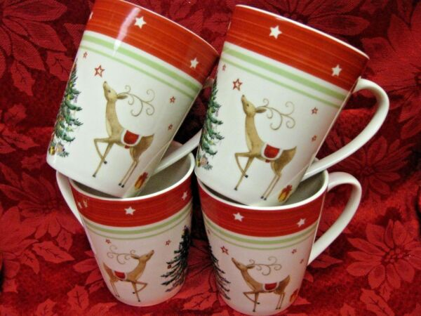 4 Spode CHRISTMAS TREE JUBILEE REINDEER Red Band Coffee Hot Cocoa Latte Mugs Cup