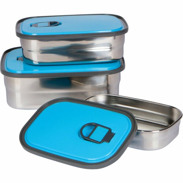 Stainless Steel Food Containers Set of 3 Leak Proof Adults Kids Bento Lunch Box