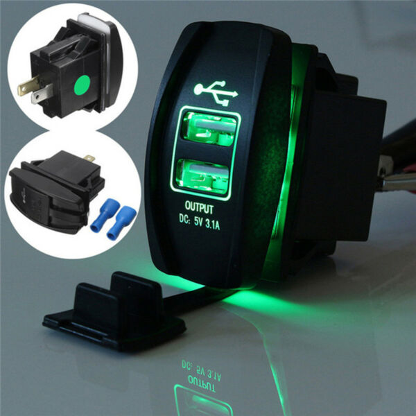 Waterproof Green Light Charger Carling ARB Rocker Switch Dual USB Power Car Boat