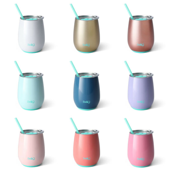 Swig 14oz Insulated Stemless Wine Cup with Straw & Seal Tight Tritan Lid