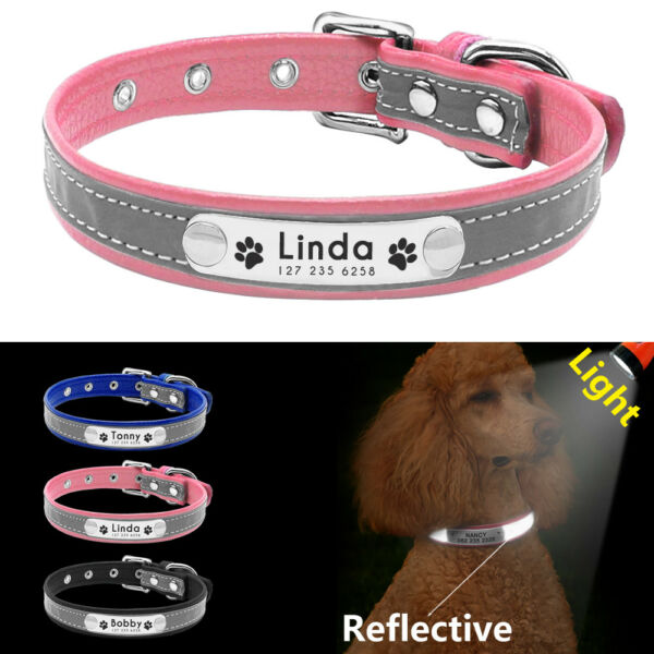Reflective Personalized Small Medium Dogs Leather Collar Custom ID Tag Engraved $6.99