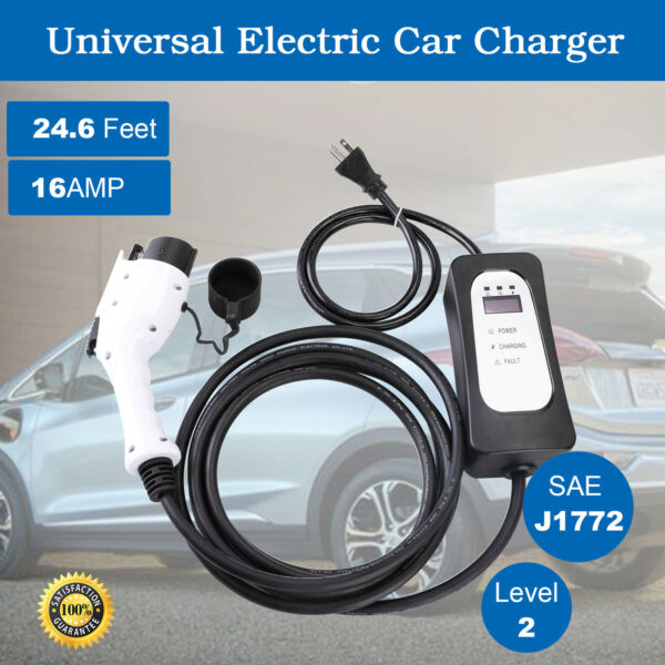 3x Faster EVSE Electric Vehicle Car Charger Level 2 Tesla. Prius 220V 16A J1772