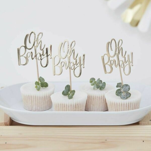 Gold Foiled Oh Baby Cupcake Toppers Oh Baby
