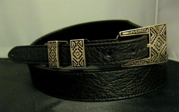 Sz 34 Navajo Calvin Begay Sterling Silver Buckle 2 Keepers  Black Belt TSF Dine