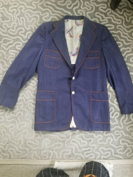 Rare Vintage 38R Stanley Blacker Denim Sport Coat Blazer Jacket