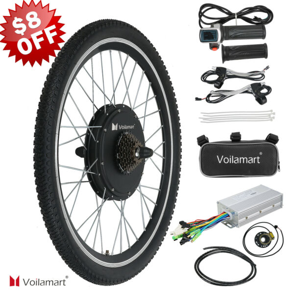 26quot; Electric Bike Rear Wheel Bicycle Conversion Kit Hub Motor Cycling 48V 1000W