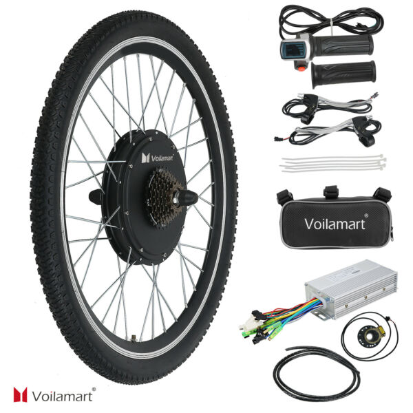 26quot; Electric Bike Rear Wheel Bicycle Conversion Kit Hub Motor Cycling 48V 1000W $202.99