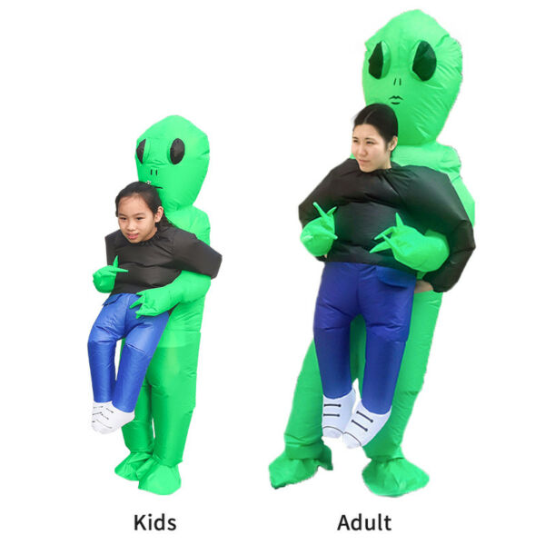 Adult kid Green Alien Inflatable Blow Up Suits Party Dress Scary Costumes