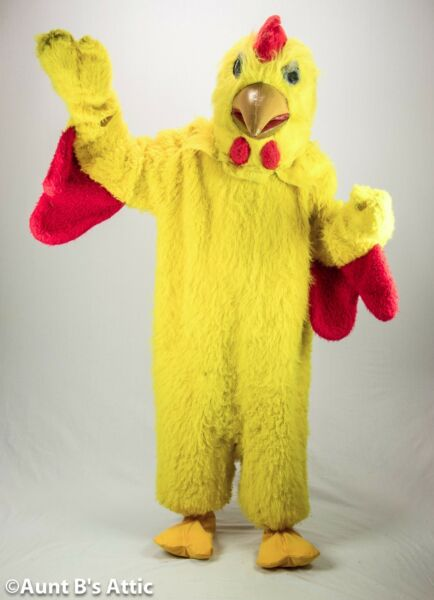 Chicken Mascot Costume 8 Piece Yellow Faux Fur Suit Mitts Socks Spats