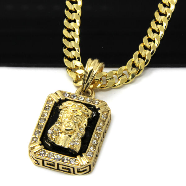 14k Gold Plated Hip-Hop Black Ruby Jesus Face 30