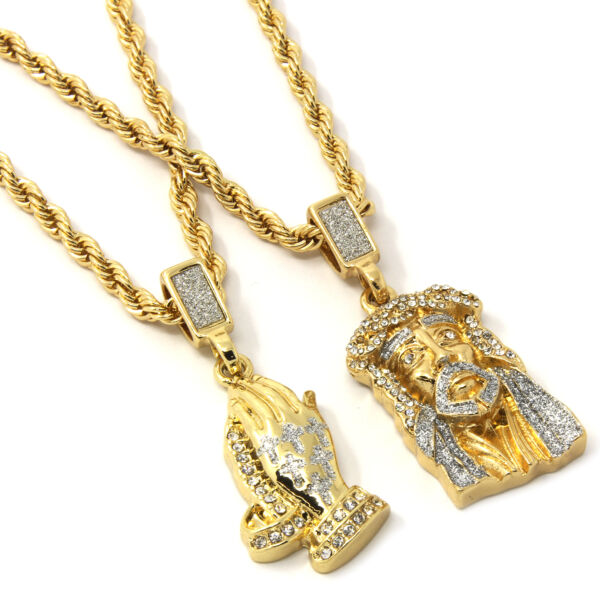 Mens Gold Two Piece Jesus & Prayer Hand Set Pendant Hip Hop 24