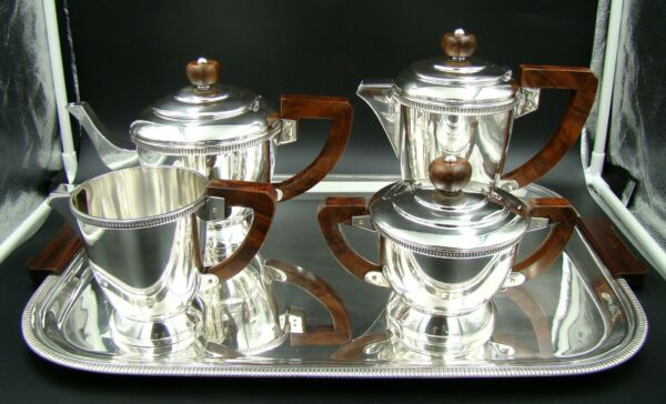 ART DECO German Sterling Silver Perles Design Tea and Coffee Set with Tray