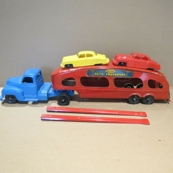 MARX Car Carrier with 2 Hard Plastic Cars mid 1950#x27;s $195.00