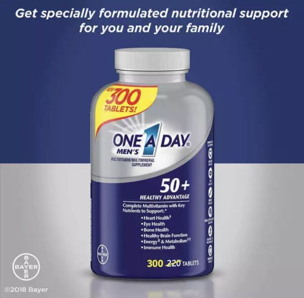 One A Day Men's 50+ Multivitamin Multi-mineral Supplement 300 Tablets ** NO TAX