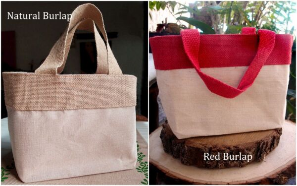 6 Pieces Natural Cotton Blend Burlap With Handles Wedding Welcome Bags 11.5