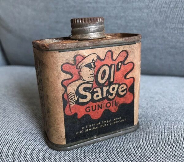 Vintage Oil Can Tin With Paper Label Advertising Ol' Sarge Empty