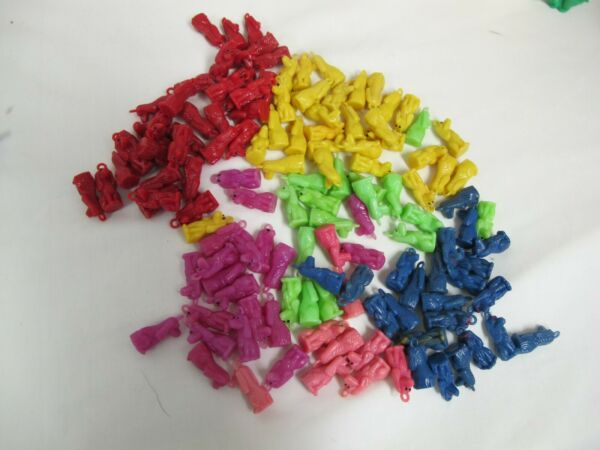 PLASTIC DOG CHARMS LOT 123 PCS RED YELLOW BLUE PURPLE PINK GREEN $39.95