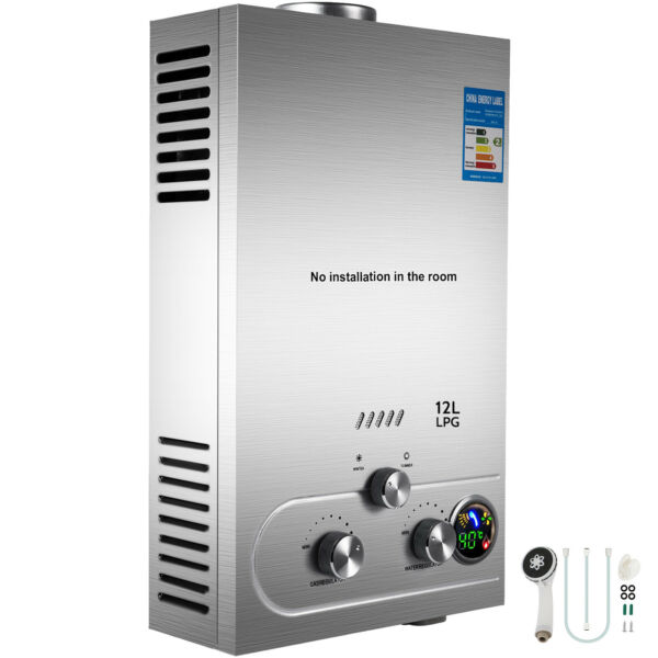 Hot Water Heater 12L Propane Gas LPG Tankless 3.2GPM Instant Boiler Outdoor $84.99