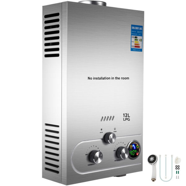 12L Propane Gas LPG Tankless Hot Water Heater 3.2GPM Instant Boiler Outdoor
