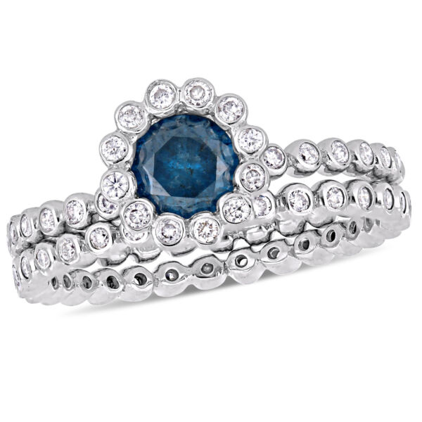 Amour 10k White Gold Blue and White Diamond Floral Beaded Bridal Ring Set