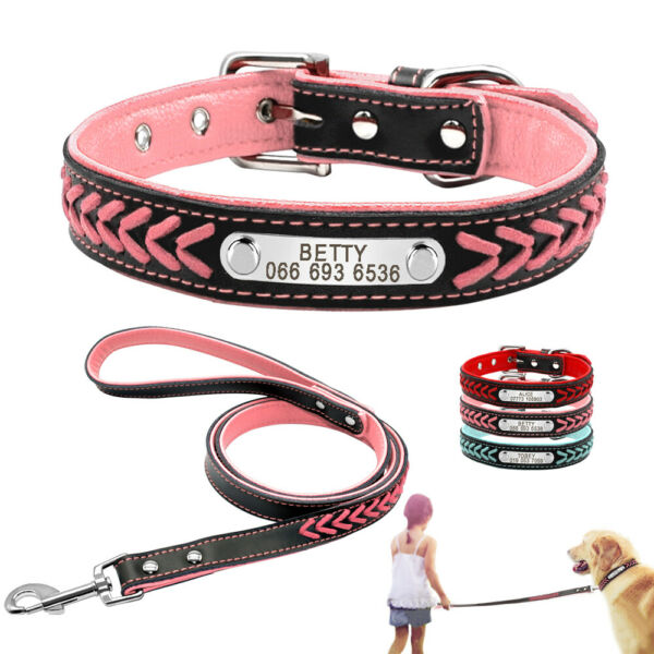 Personalized Leather Collar and Leash set Small Medium Large Dog ID Tag Engraved $19.99