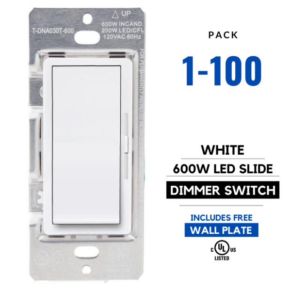 Single Switch & 1 Pole Dimmer LED Dimmer Slide Switch LED 150W CFL 600W White