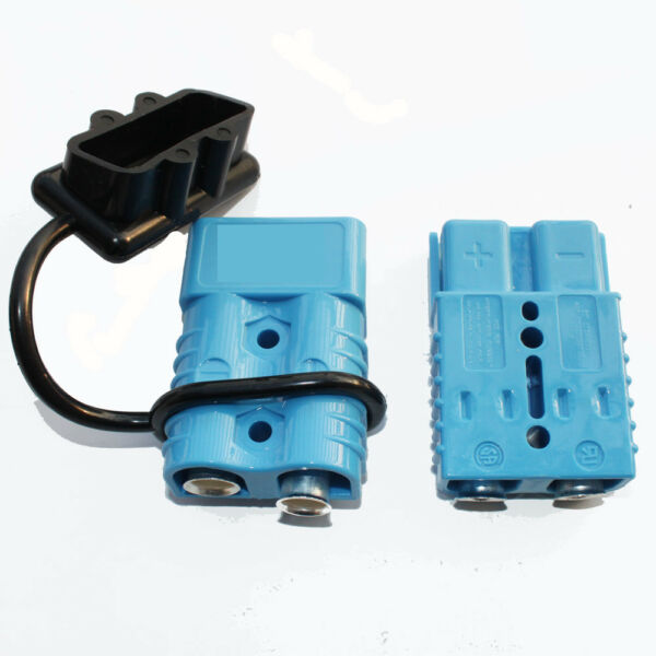 Battery Quick Connect Plug Disconnect Blue 2pcs 175AMP 2AWG Wire Lead with 1 Cap