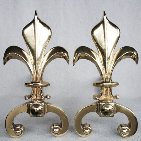Vintage French Brass Fleur de Lis Fireplace Andirons Hollywood Regency 12.25""