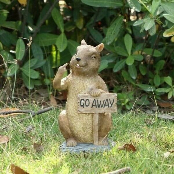 Squirrel with Go Away Sign Giving Finger - Life Like Figurine Statue Home Garden
