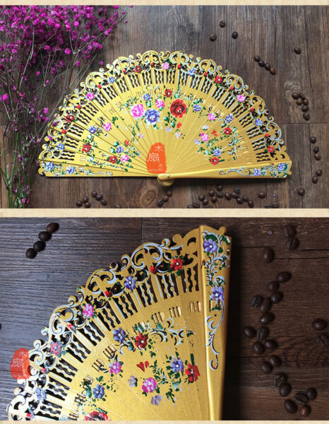 Hand Painted Flower Fan Wood Fan Custom Dance Fan Spanish Style Wedding Fan $20.21