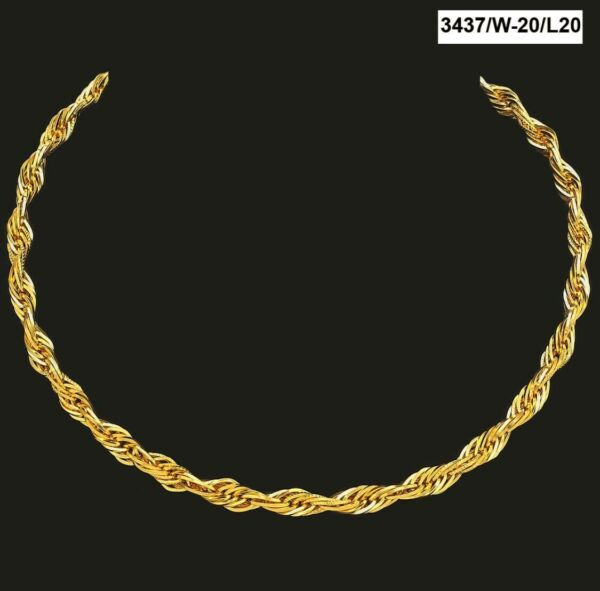 22 Kt Solid Yellow Gold Necklace Men'S Twist Chain 34 g 18'' 20'' 22'' 24'' Long