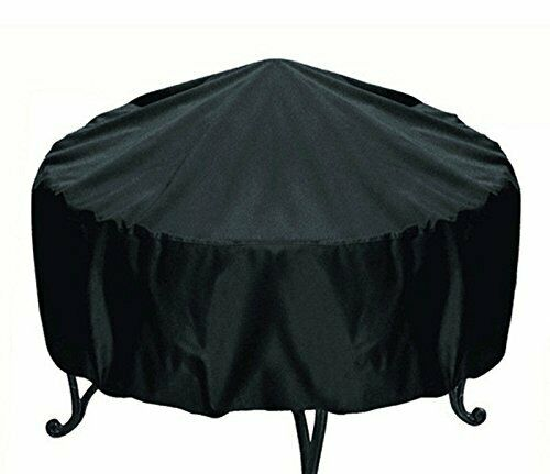 Patio Round Fire Pit Cover Waterproof UV Protector Black