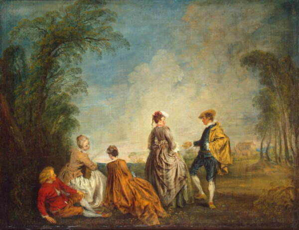 Antoine Watteau Unknown Poster Reproduction Paintings Giclee Canvas Print