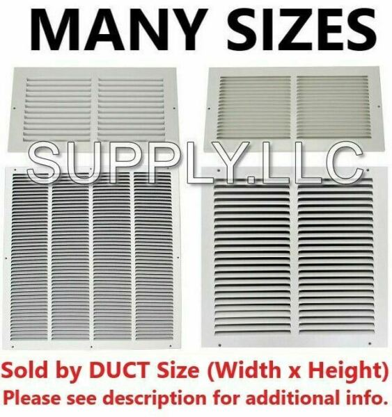 AIR RETURN VENT COVER GRILLE AC Duct Sizes Wall Sidewall Ceiling Steel White