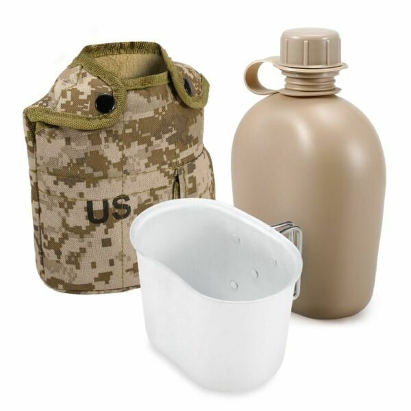 Portable Water Bag Thermal Canteen Water Bottle Dinner Pail Aluminum Alloy Set